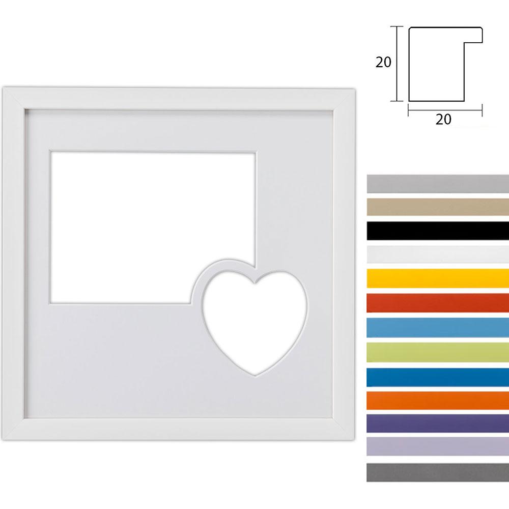 Cornice multipla Top Cube 30x30 cm per 2 foto con cuore