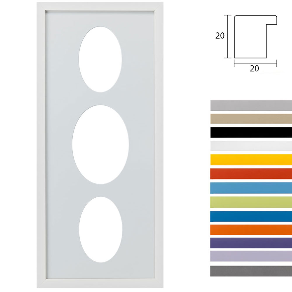 Cornice multipla Top Cube 25x60 per 3 foto ritaglio ovale