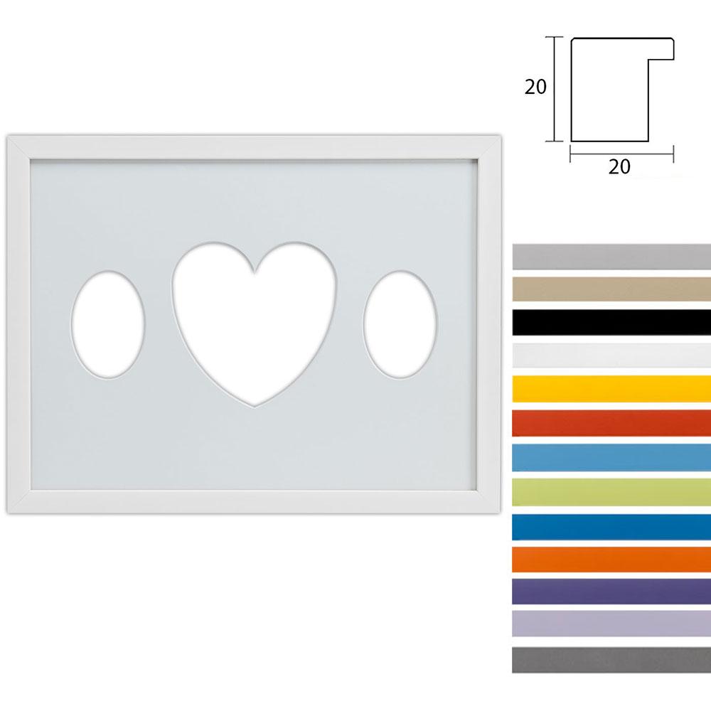 Cornice multipla Top Cube 30x40 per 3 foto ritaglio ovale con cuore