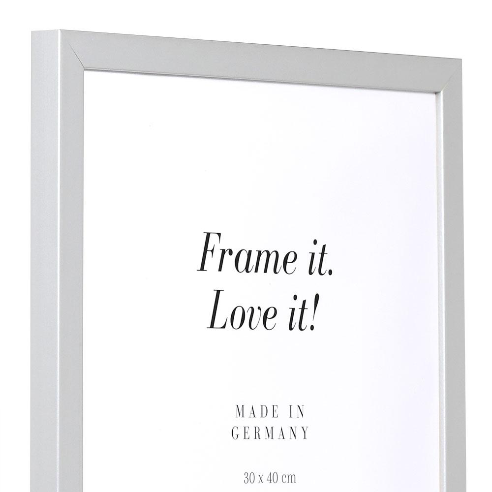 Cornice in legno Top Cube 75x100 cm | argento | vetro artificiale antiriflesso