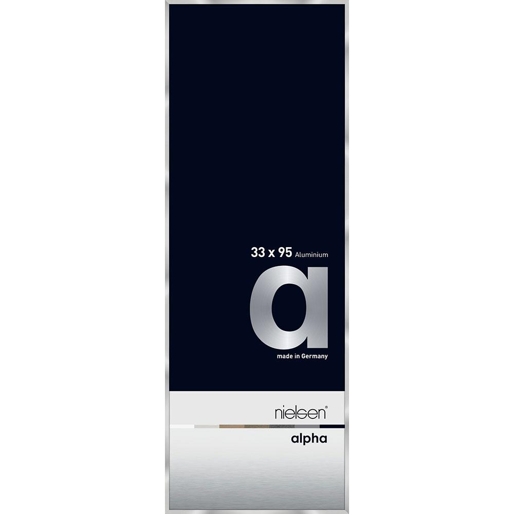 Cornice in alluminio Alpha 33x95 cm   argento   vetro standarde