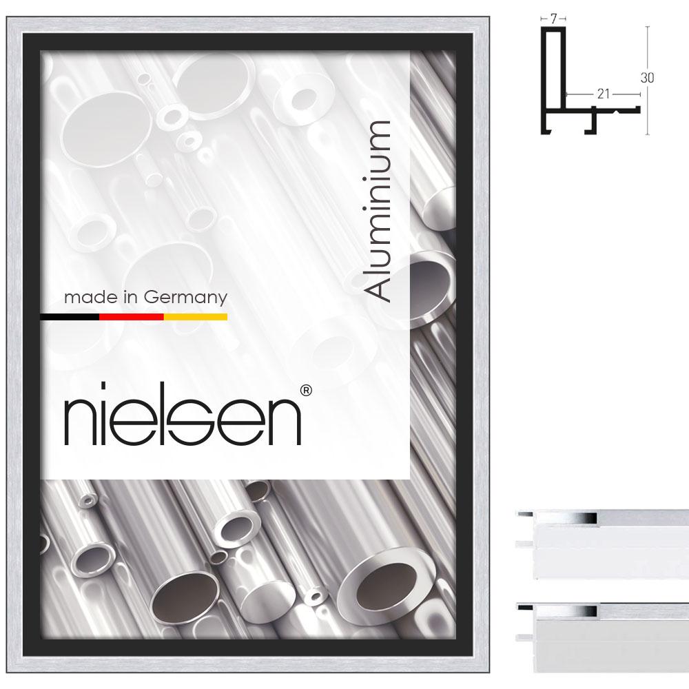 Cornice profilato di tenuta profilo 26 30x40 cm | argento opaco | cornice senza vetro e supporto sul retro