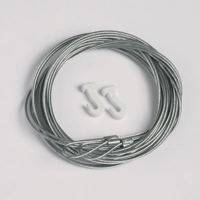 50 pezzi corda d'acciaio 1,3mm/200cm con passante per ganci scorrevoli (portata massima 7 kg)