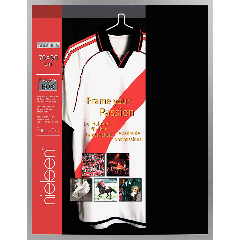 FrameBox - Cornice per magliette 70x90 cm | argento opaco | vetro artificiale