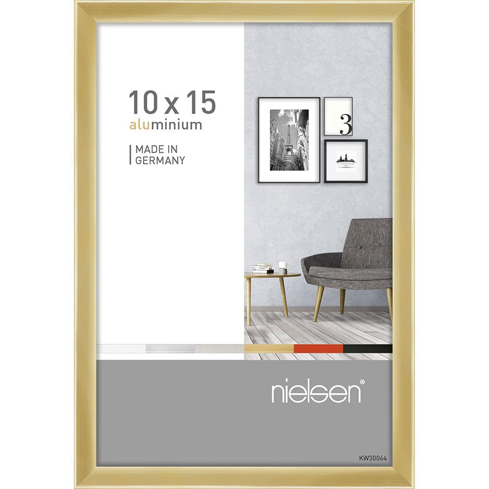 Cornice in alluminio Pixel 10x15 cm   oro brillante   vetro standarde