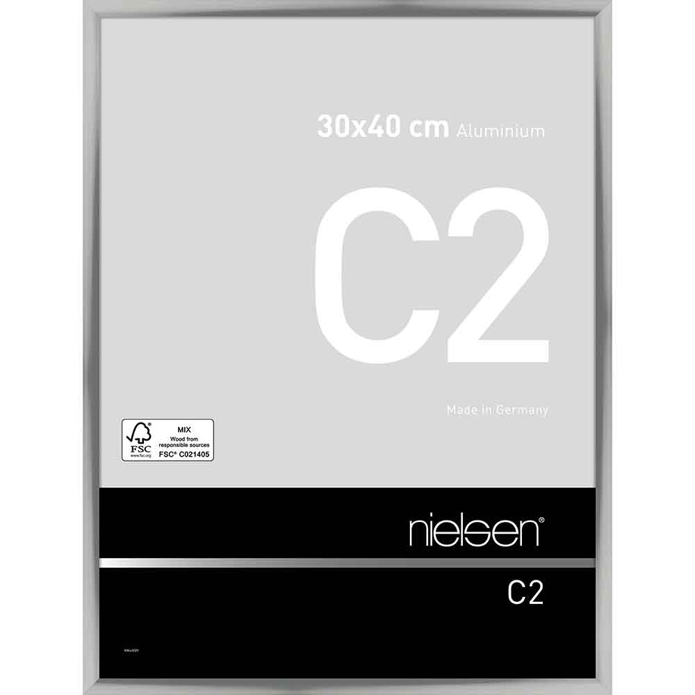 Cornice in alluminio C2 30x40 cm | argento brillante | vetro standarde