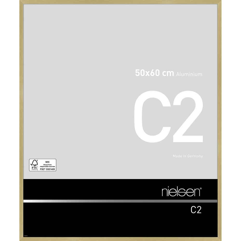 Cornice in alluminio C2 50x60 cm   oro struttura opaco   vetro standarde