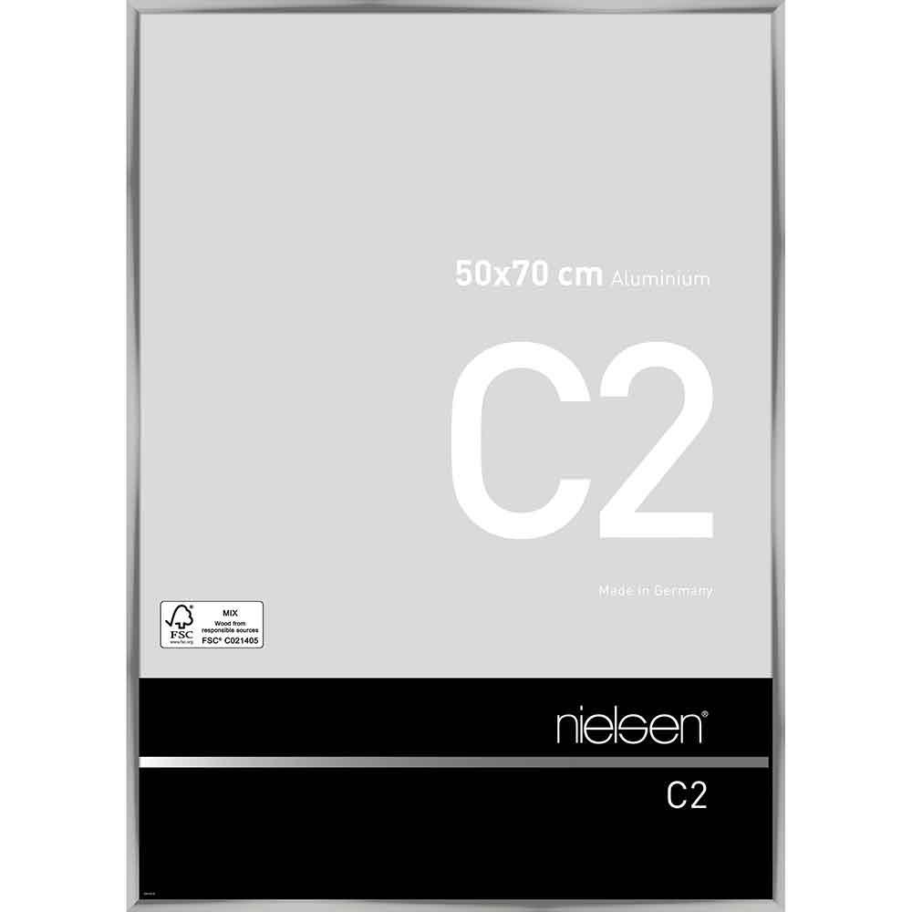 Cornice in alluminio C2 50x70 cm   argento brillante   vetro standarde