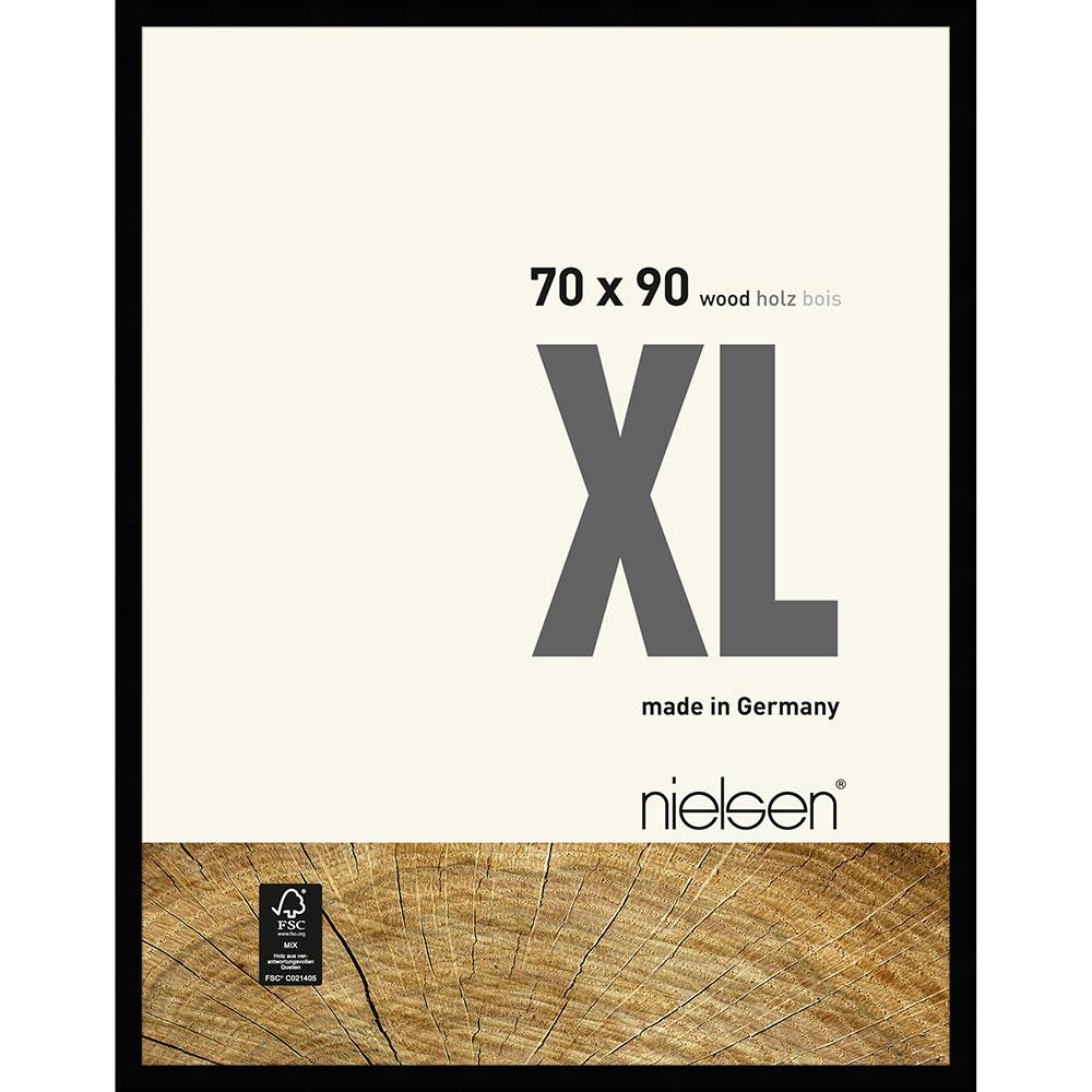 Cornice in legno Quadrum XL 70x90 cm | nero | vetro normale