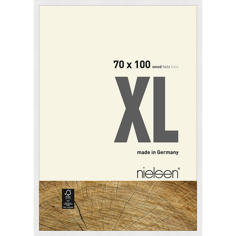 Cornice in legno Quadrum XL 70x100 cm | bianco | vetro normale