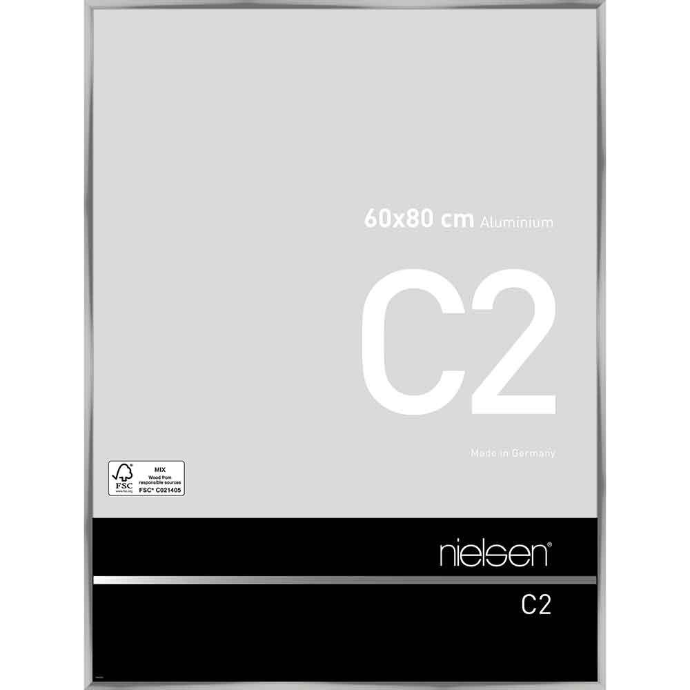 Cornice in alluminio C2 60x80 cm   argento brillante   vetro standarde
