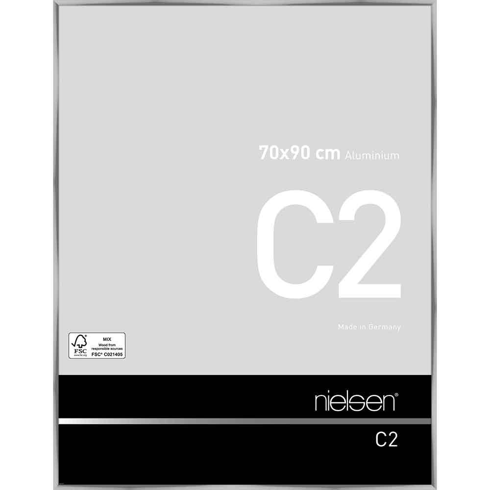 Cornice in alluminio C2 70x90 cm | argento brillante | vetro standarde