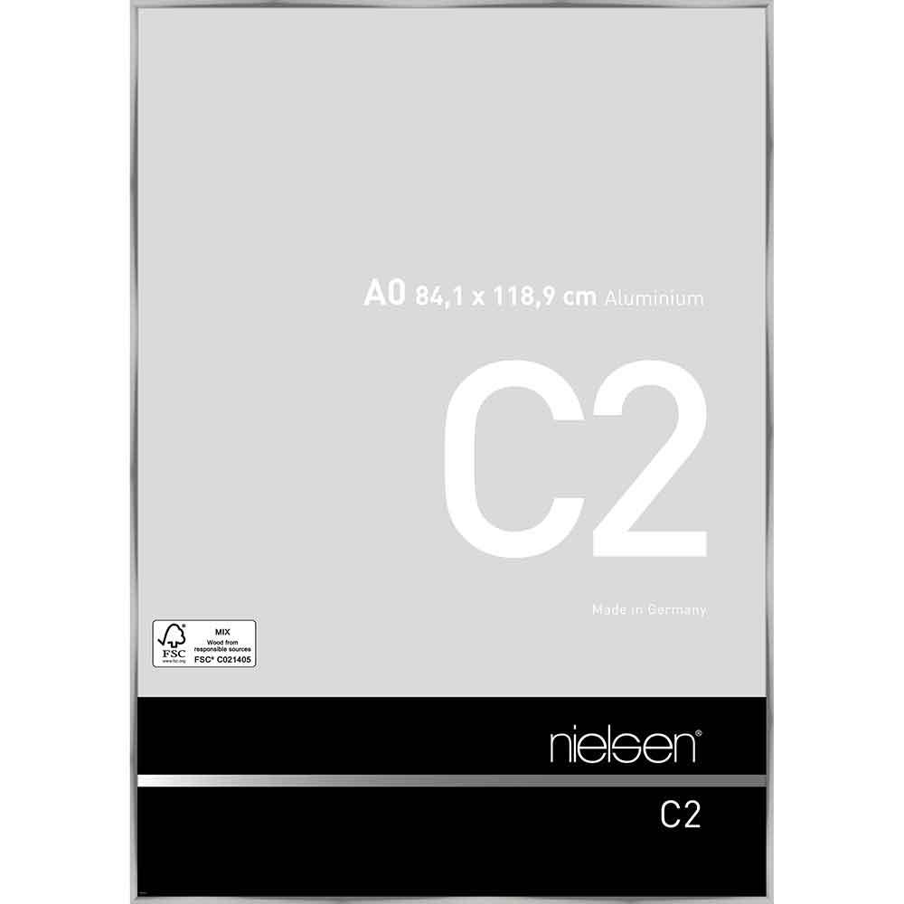 Cornice in alluminio C2 84,1x118,9 cm (A0) | argento brillante | vetro normale