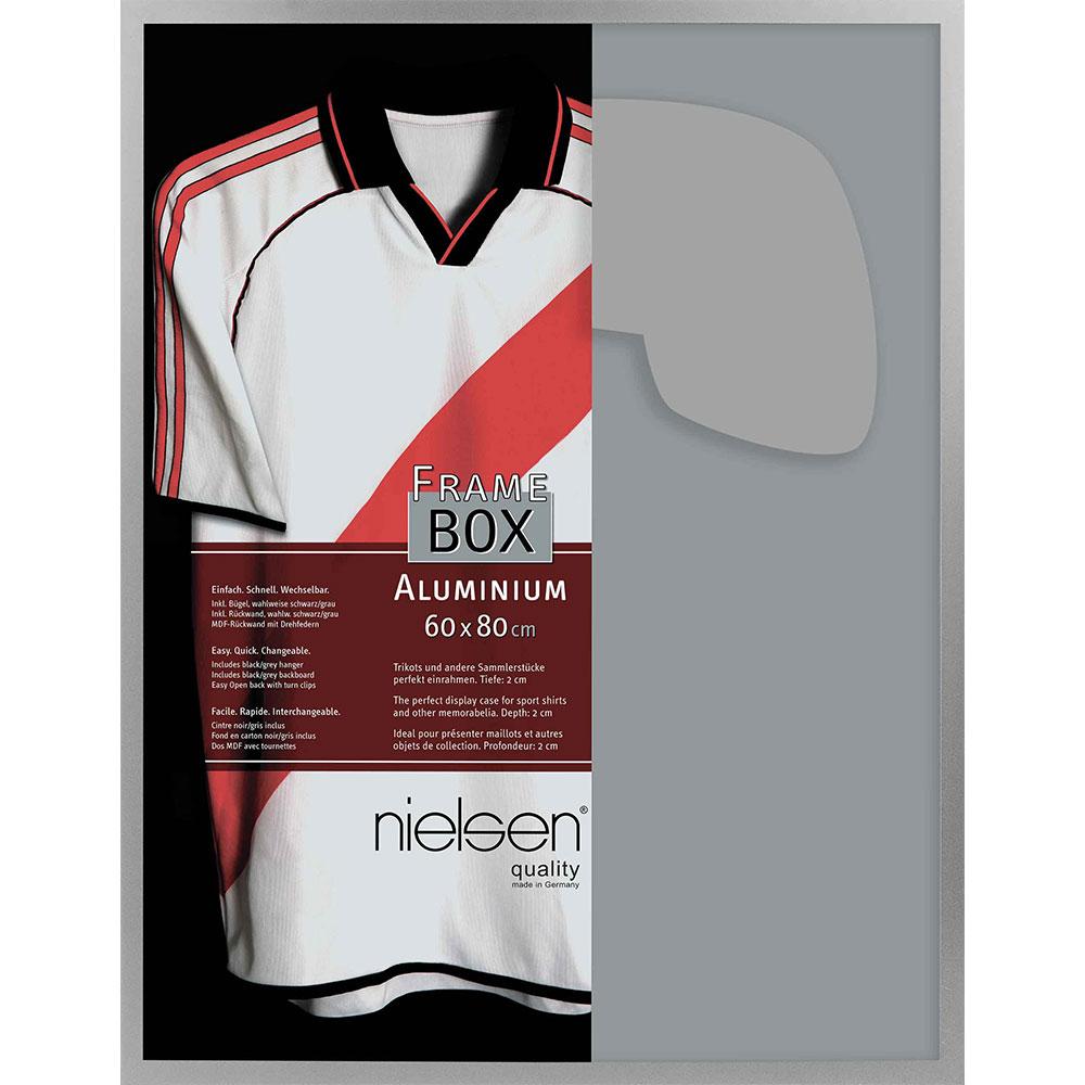 FrameBox II - Cornice per magliette 60x80 cm | argento opaco | vetro artificiale