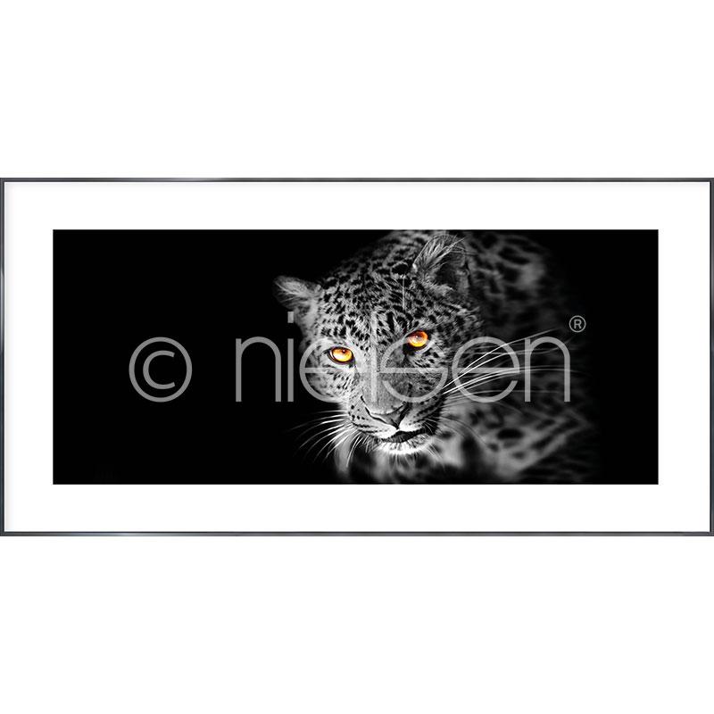 """Immagine incorniciata """"Leopard"""" con cornice in alluminio Alpha"""