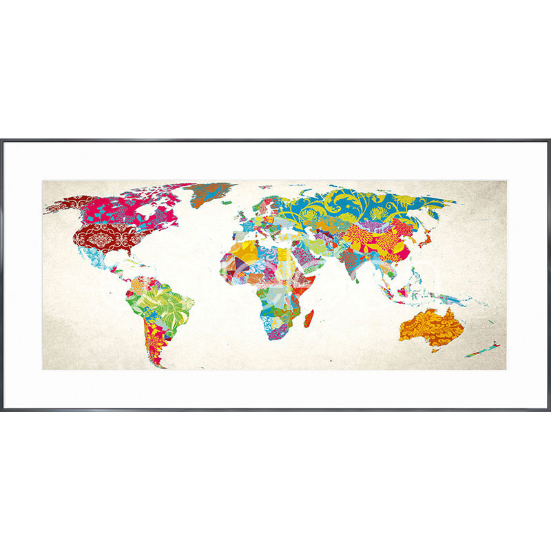"Immagine incorniciata ""World Map"" con cornice in alluminio Alpha"