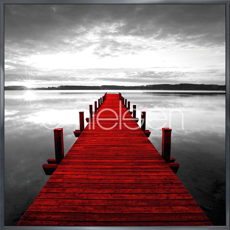 """Immagine incorniciata """"Footbridge red"""" con cornice in alluminio Alpha"""