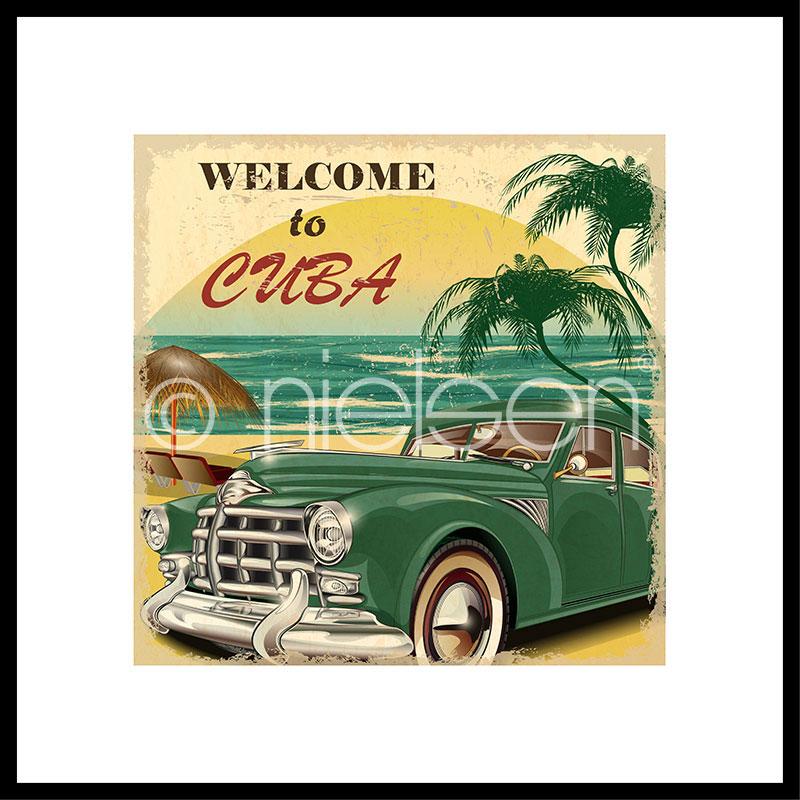 """Immagine incorniciata """"Welcome to Cuba"""" con cornice in alluminio C2"""