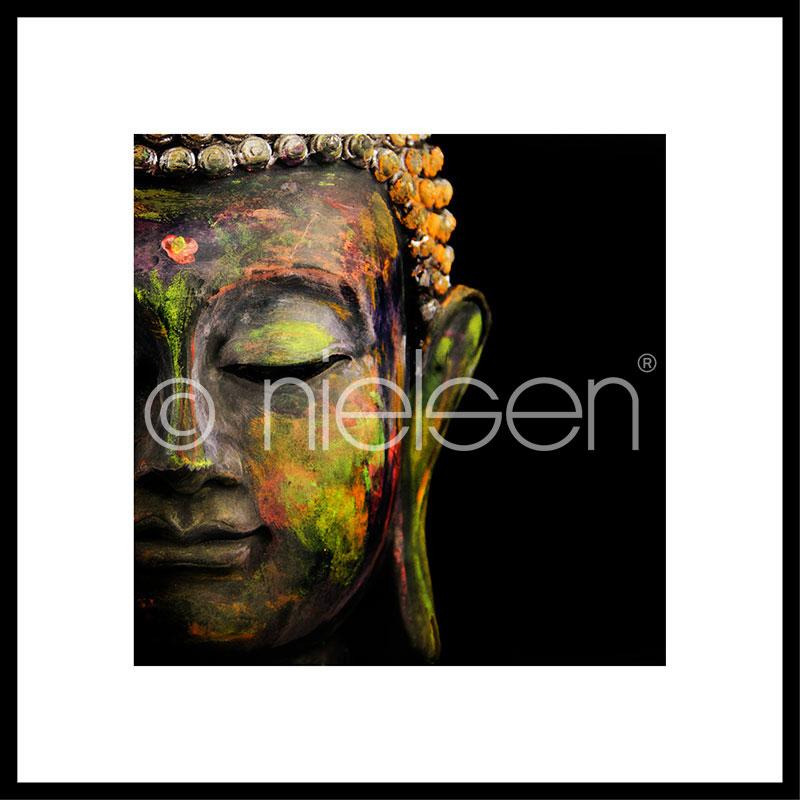 """Immagine incorniciata """"Buddha head"""" con cornice in alluminio C2"""