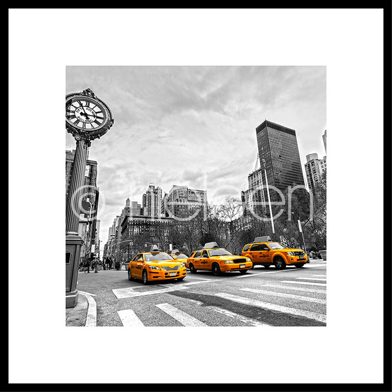 """Immagine incorniciata """"New York Taxi"""" con cornice in alluminio C2"""