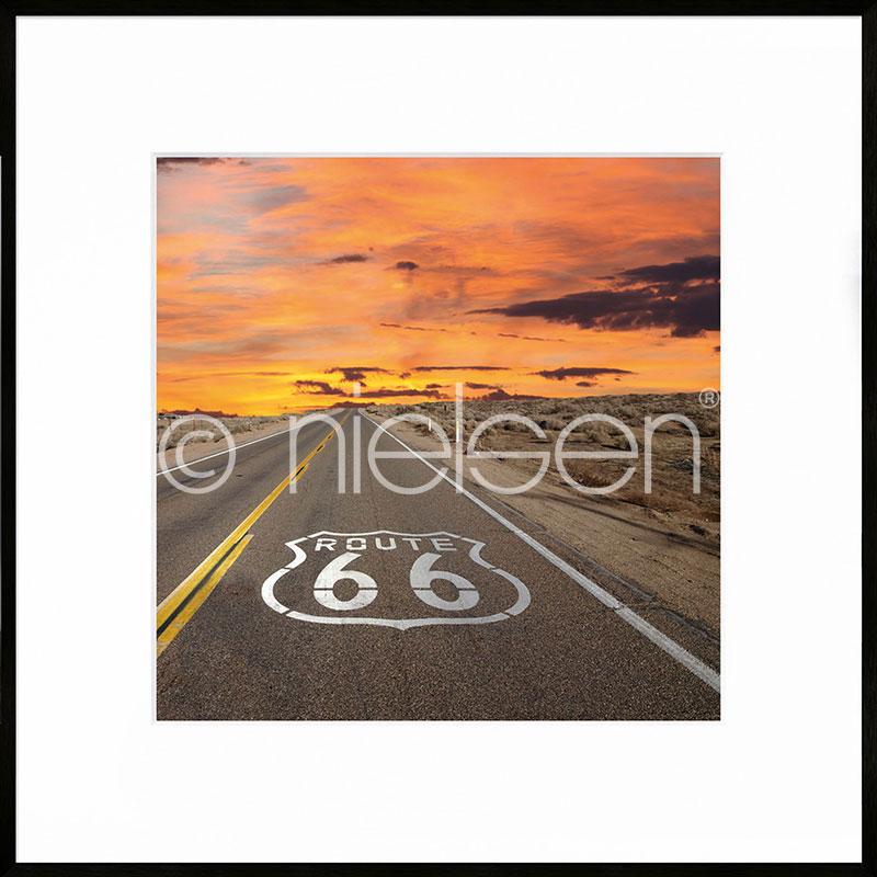 """Immagine incorniciata """"Route 66"""" con cornice in alluminio C2"""