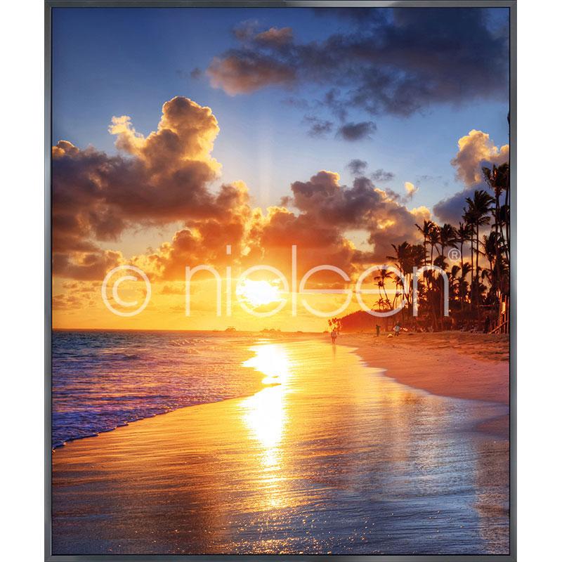 """Immagine incorniciata """"Sunset Beach"""" con cornice in alluminio Alpha"""