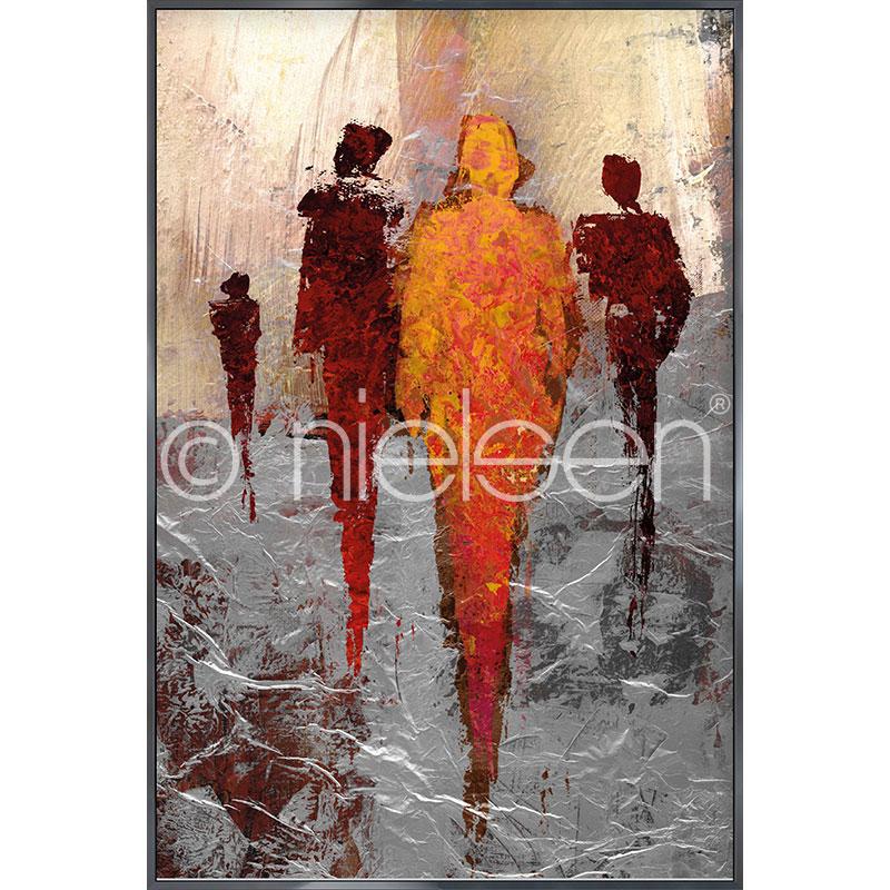 """Immagine incorniciata """"Abstract Figures Red"""" con cornice in alluminio Alpha"""