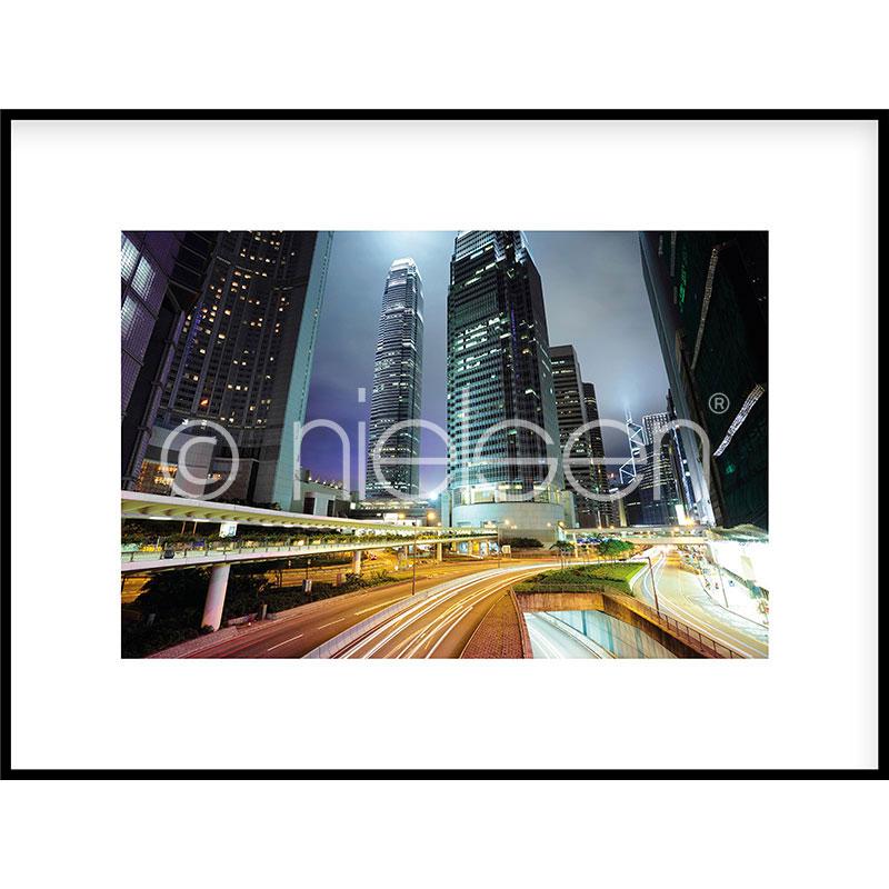 """Immagine incorniciata """"Hongkong at Night"""" con cornice in alluminio C2"""
