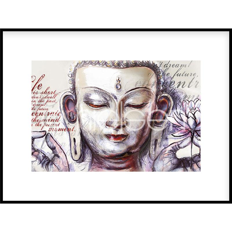 """Immagine incorniciata """"Buddha Pearcing"""" con cornice in alluminio C2"""