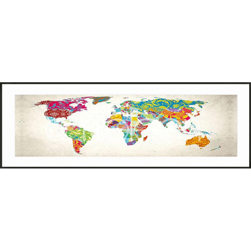 """Immagine incorniciata """"World Map"""" con cornice in alluminio C2"""