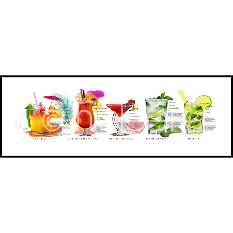 """Immagine incorniciata """"Cocktails"""" con cornice in alluminio C2"""