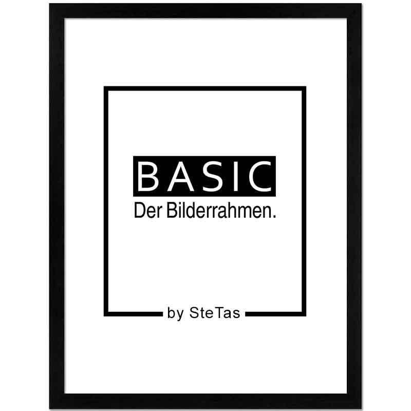Cornice in legno Basic 50x70 cm | nero | vetro artificiale