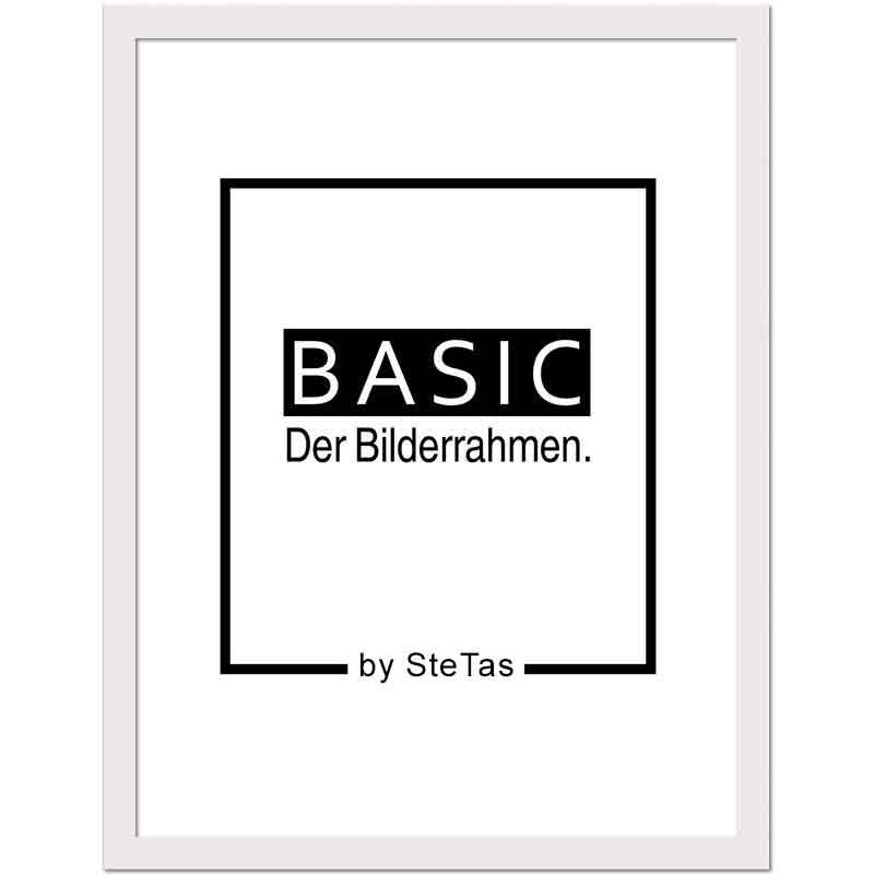 Cornice in legno Basic 50x70 cm | bianco | vetro artificiale