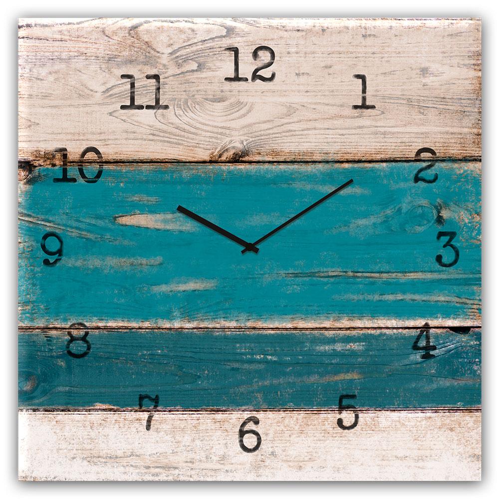 orologio in vetro BLUE WOOD 30x30 cm