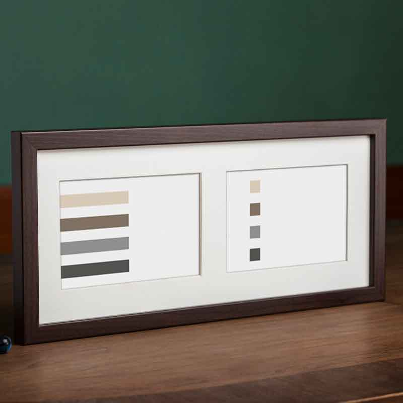 Cornice galleria JAPAN per 2 foto 15x37 cm (2x 10x15 cm) | marrone scuro | vetro normale