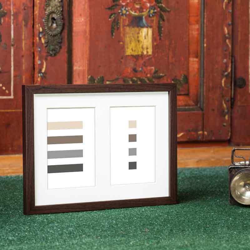 Cornice galleria JAPAN per 2 foto 20x27 cm (2x 10x15 cm) | marrone scuro | vetro normale