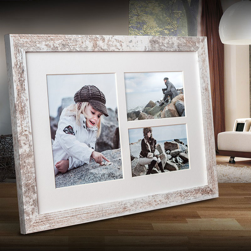 Cornice galleria NARVIK per 3 foto 28x39 cm (2x 10x15 + 1x 15x21 cm) | shabby | vetro normale