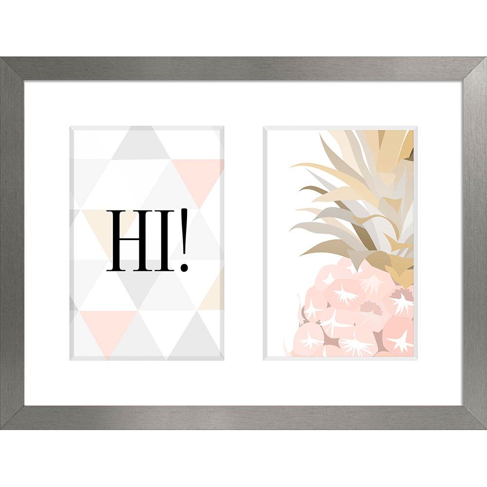 Cornice galleria SANREMO per 2 foto 20x27 cm (2x 10x15 cm)   grigio chiaro   vetro normale