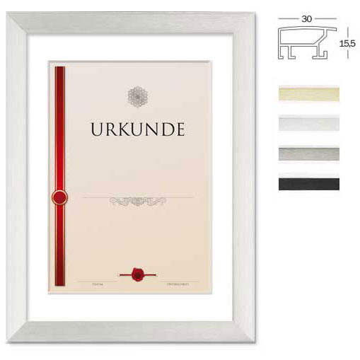 Cornice larga per certificati con passe-partout 30x45 cm (Ausschnitt 20x30/A4) | nero | vetro standarde