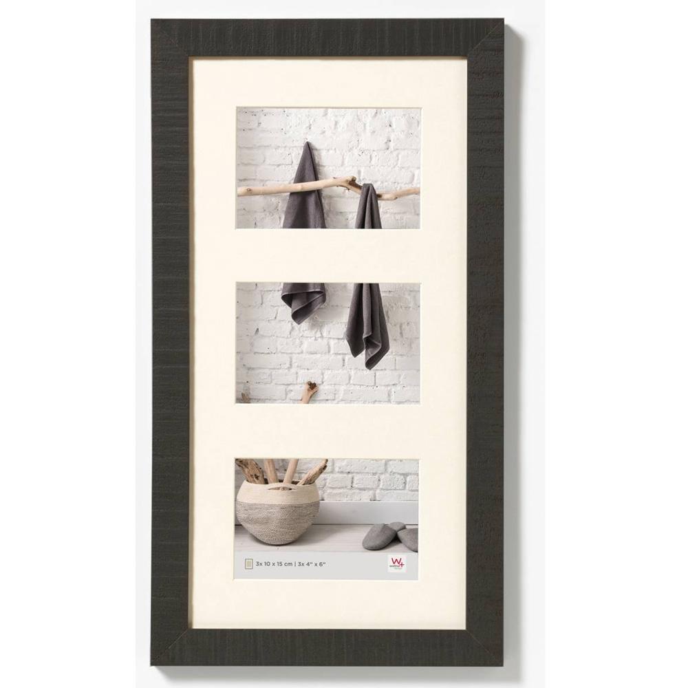 Cornice galleria per 3 Home 10x15 cm | nero | vetro normale