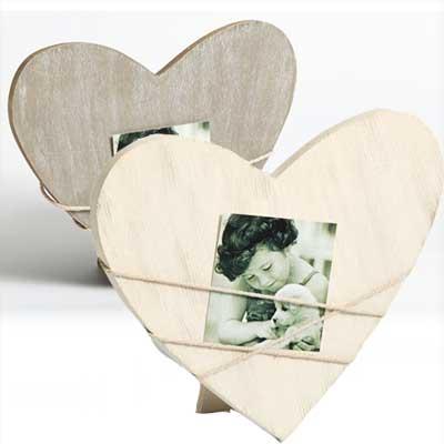 Portafoto Bella a forma di cuore con cordicella, grigio